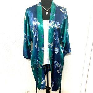 Vintage Blue Floral Robe Kimono Medium